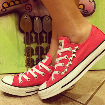 Custom Studded Hot Pink Converse All Stars - Chuck Taylors! ALL SIZES & COLORS!!!!