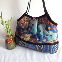 Japanese Kimono Pattern Granny bag purse plum blossoms by MofLeema