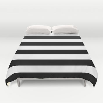Stripe Black & White Duvet Cover by BeautifulHomes | Society6