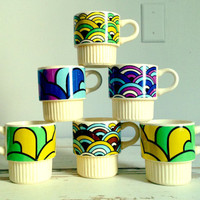 Vintage Art Deco Coffee Mugs  Set of Six by luckyporcupine on Etsy