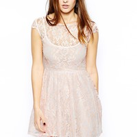 Motel Bumble Bee Lace Skater Dress with Neon Highlights -