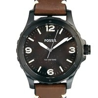 Fossil Nate Brown Leather Strap Watch JR1450