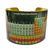 Periodic Table brass cuff bracelet by UniqueArtPendants