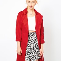 Motel Trench Trench Coat - Red wash