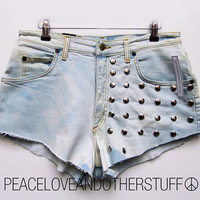Handmade Vintage Bleached & Studded HighWaist Shorts by peaceloveandotherstuff