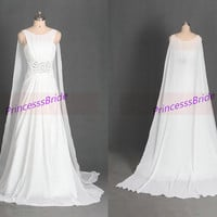 2014 long chiffon wedding gowns with sweep train,unique simple bridal dresses in white,cheap chic  women dress for prom.