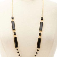 LONG BEAD & FACETED STONE STATEMENT NECKLACE