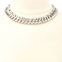 CHUNKY RHINESTONE CHAIN COLLAR NECKLACE