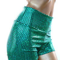 Emerald Green Mermaid Scale High Waist Shorts