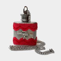 Flask Necklace 1oz - red lace and rifle - Conceal under shirt or display awesomeness. Looks like normal necklace