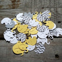 Grey and Yellow Chevron Elephant Confetti, Baby Shower Confetti, Baby Shower Decor, Party Confetti, Elephant Confetti,200 Pieces