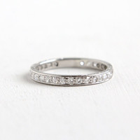 Antique Platinum Diamond Eternity Wedding Band- Size 7 1/4 Vintage Art Deco 3/4 Carat Floral Etched Fine Engagement Bridal Jewelry