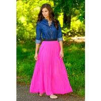 All Flaired Up Maxi Skirt-Fuchsia