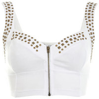 White Studded Bra Top - Tops  - Clothing  - Miss Selfridge