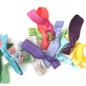 15 Ribbon Hair Ties - Knotted Hair Bands - Elastic  Hair Tie Grab Bag - You Choose Colors of Hair Elastics - Great Gift for Girls and Women