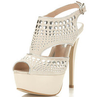 Pose Cream Studded Platform - Heels - Shoes - Miss Selfridge