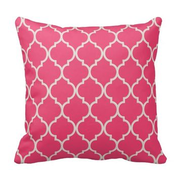 Cayenne Pink and White Lattice Pillow