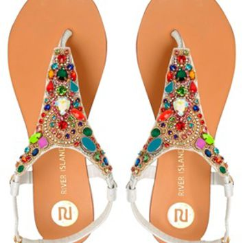 River Island Moira Two Toe Embellished Flat Sandals