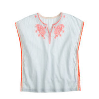 GIRLS' EMBROIDERED-STRIPE TUNIC