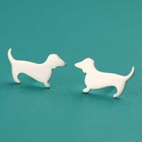 Tiny Dachshund Love Studs in Silver by ANORIGINALJEWELRY on Etsy
