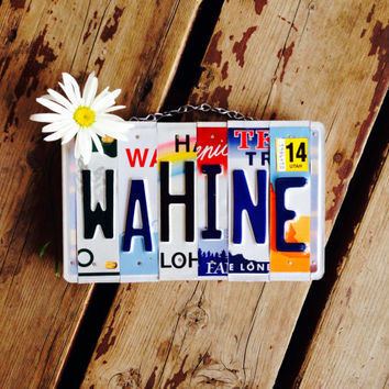 Hawaii. License plate art. Custom sign. Travel. Girls. Rainbow. Love. Maui. Wall hanging. Teen
