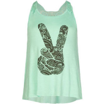 Full Tilt Peace Sign Girls Crochet Back Sharkbite Tank Mint  In Sizes