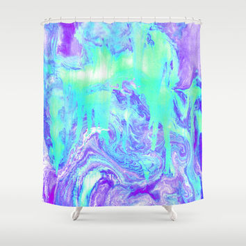 Melting Marble in Mint & Purple Shower Curtain by Tangerine-Tane