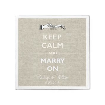 Keep Calm Marry Linen Personalized Napkins