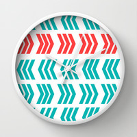 Coral Pop and Aqua Zig Zag Wall Clock by Lisa Argyropoulos | Society6