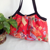 Japanese Kimono Pattern Granny bag purse flowers & by MofLeema