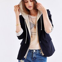 BDG Zip-Up Hoodie-Lined Blazer - Urban Outfitters