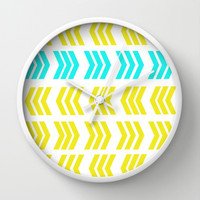 Aqua Pop Zig Zag Wall Clock by Lisa Argyropoulos | Society6