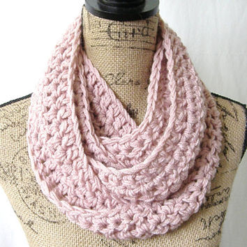 Ready To Ship Light Pink Light Rose Cowl Scarf Fall Winter Women's Accessory Infinity