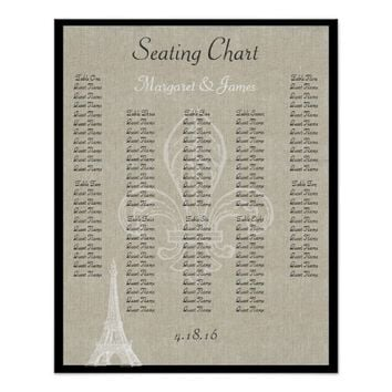 Paris Eiffel Vintage Linen Black Seating Chart