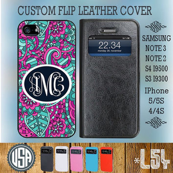 Personalized Monogram Flip Leather Cover @ Samsung Galaxy S4 Wallet Case S3 Samsung Note 3 Galaxy Note 2 IPhone 5 5S IPhone 4 4S Cover L54