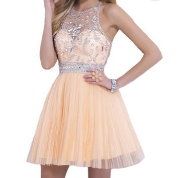 VILAVI Women's A-line Round Brought Short Tulle Crystal Prom Dresses