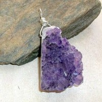 Druzy Geode Amethyst Pendant Wire Wrapped Sterling Silver earthegy