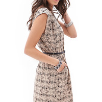 Belted Tribal Print Dress