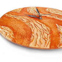 CIJ SALE Orange Wood WALL Clock Unique art design orange wall decor