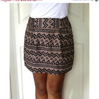 ON SALE Chevron Mini Skirt Brown and Black Tribal by LoNaDesign