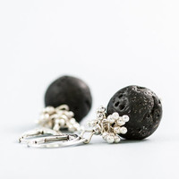 Black Lava Beaded Earrings Chunky Short Elegant by DevikaBox