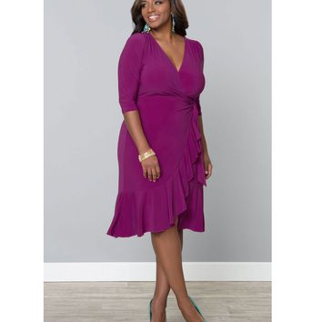 Plus Size Orchid Purple Whimsy Wrap Dress