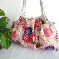 Japanese Kimono Pattern Granny bag purse flowers pink by MofLeema