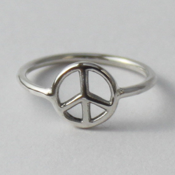 Peace Ring Fun sterling silver ring by HeartCoreDesign on Etsy