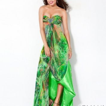 green printed prom dress style 172081