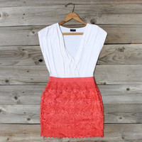 Tucked Lace Dress in Red, Sweet Women&#x27;s Country Clothing