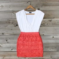 Tucked Lace Dress in Red, Sweet Women's Country Clothing