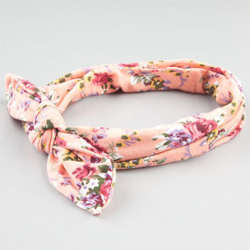 Full Tilt Floral Print Bow Knot Headband Pink Combo One Size For Women 24428539801