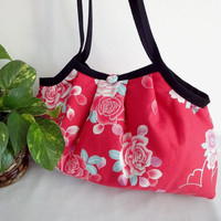 Japanese Kimono Pattern Granny bag purse roses red by MofLeema