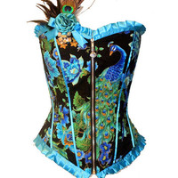 Royal Peacock corset with free hair/brooch clip by kawaiiparlor